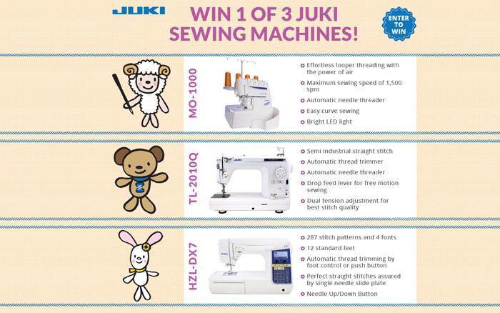 Enter to Win! 1 of 3 Juki Sewing Machines!